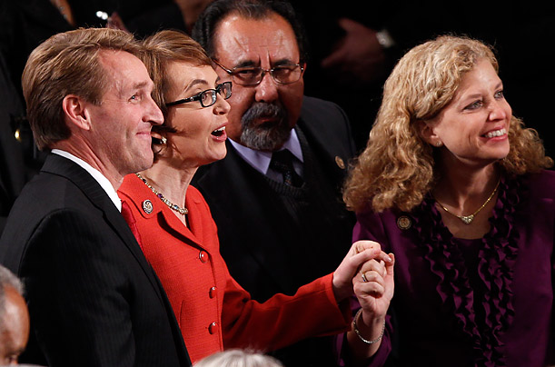 Gabby Giffords Bids Farewell to Congress On the eve of her resignation, the Arizona Representative attends President Obama's State of the Union address