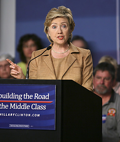 Democratic presidential hopeful, Sen. Hillary Rodham Clinton, D-N.Y., delivers her speech on the economy, Monday, Oct. 8, 2007, in Cedar Rapids, Iowa.
