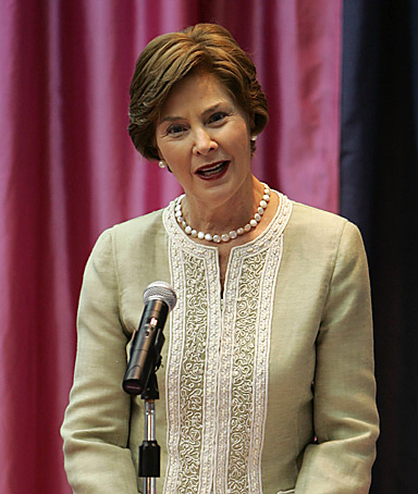 First lady laura bush  highlight the fight against breast cancer