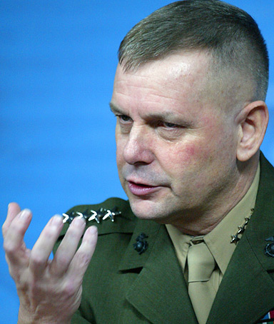 Joint Chiefs Vice Chairman Gen. James Cartwright gestures during a news conference at the Pentagon, Thursday, Feb. 14, 2008, to discuss the use of a Navy missile to attempt to destroy a broken U.S. spy satellite.