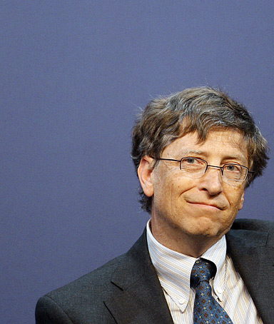 Microsoft co-founder Bill Gates listens to a speech during the 2008 edition of the Government Leaders Forum hosted by Microsoft also attended by German Chancellor Angela Merkel (not pictured), 23 January 2008 in Berlin.