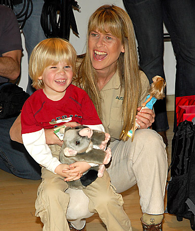 Terri Irwin  widow of Crocodile Hunter Steve Irwin on their 4-year-old son, Robert's, first snake bite