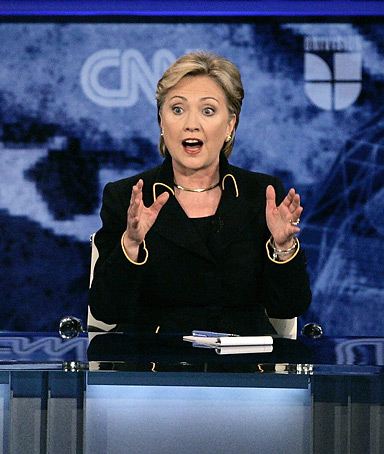 US Democratic presidential candidate Senator Hillary Clinton (D-NY) speaks during the Texas Democratic Party's presidential candidates debate at the University of Texas at Austin in Austin, Texas, February 21, 2008.