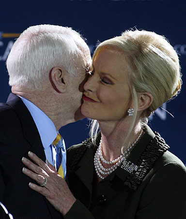 John McCain and his wife, Florida Republican Presidential Primary