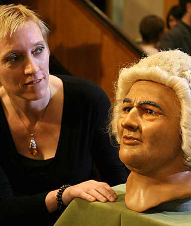CAROLINE WILKINSON after she did a modern reconstruction of Johann Sebastian Bach head, using computer modeling techniques