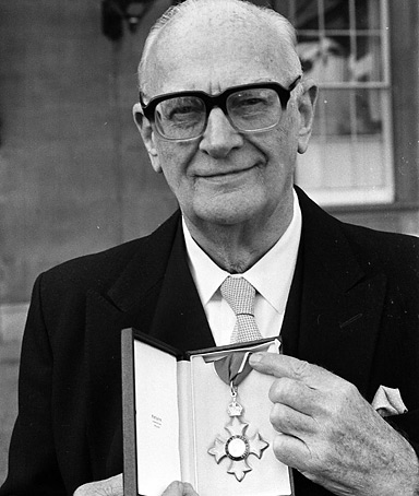 Science fiction writer Arthur C. Clarke after he received his CBE from the Queen. Clarke has died in Sri Lanka at the age of 90, an aide to the author said today.