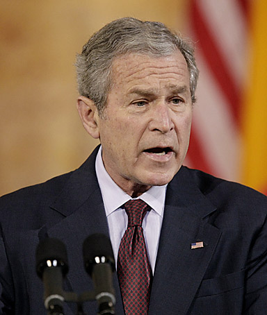 President Bush praising Romania and its people for their contributions to NATO and to the war in Iraq  install parts of a missile defense system in Poland and the Czech Republic