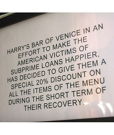 A sign outside Harry's Bar