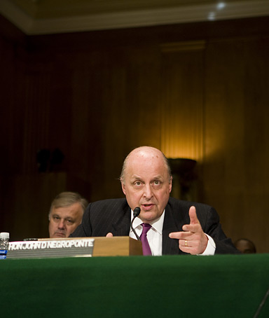 Deputy Secretary of State John Negroponte testifies on Capitol Hill on April 23, 2008 in Washington, DC.  Negroponte, along with actor and activist Richard Gere, testified on the recent political crackdown in Tibet.