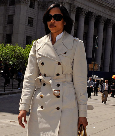 Temeka Rachelle Lewis exits Manhattan federal court, Wednesday, May 14, 2008, in New York
