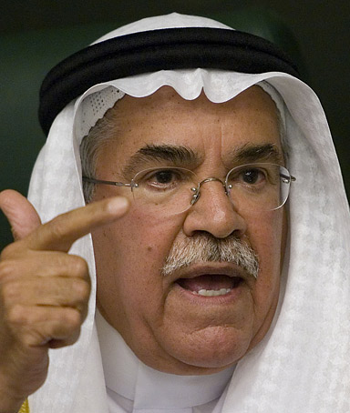 Saudi Oil Minister Ali al-Naimi gestures during a news conference while answering a question about oil prices, May 16, 2008, in Riyadh, Saudi Arabia.