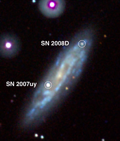 In this image provided by NASA, seemingly out of nowhere, Supernova 2008D burst onto the scene on Jan. 9, 2008, as seen in ultraviolet images and X-ray images taken by NASA's Swift Satellite