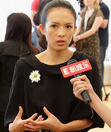Ziyi Zhang attends press conference to raise awareness for the recent China Earthquake at the Carlton Beach during the 61st International Cannes Film Festival on May 21, 2008 in Cannes, France