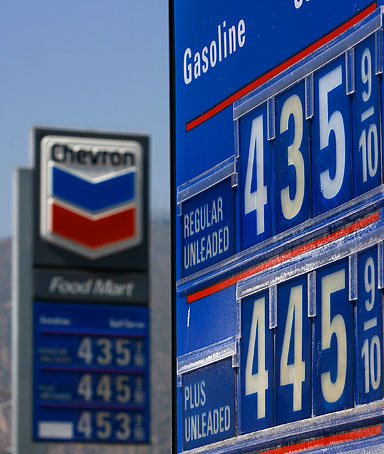 Prices are displayed at a Chevron gas station in an area where the price of a gallon of a gallon of gas typically ranges from as low as $4.20 to more than $4.50, and diesel sells for more than $5.00, on May 30, 2008 in Pasadena, California