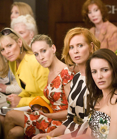actors from left, Kim Cattrall as Samantha Jones, Sarah Jessica Parker as Carrie Bradshaw, Cynthia Nixon as Miranda Hobbes and Kristin Davis as Charlotte York-Goldenblatt in a scene from