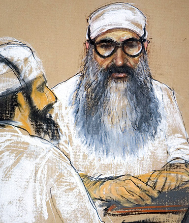 Khalid Sheikh Mohammed, right, and Waleed bin Attash, two of the Sept. 11 attacks co-conspirator suspects, in a courtroom sketch.