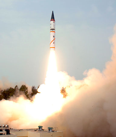 India's nuclear-capable Agni-III missile takes off in its third flight launch system at Wheeler Island, 12 km (7 miles) from the coast of Orissa in eastern India May 7, 2008