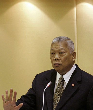Thailand's Prime Minister Samak Sundaravej speaks during a no-confidence debate against him at Parliament in Bangkok, Thailand Wednesday, June 25, 2008