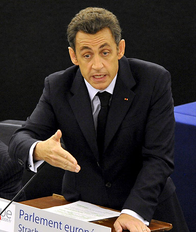 French President Nicolas Sarkozy addresses the plenary session of the EU Parliament in Strasbourg, France,10 July 2008, on the intended French course of action during this country six month EU Presidency.