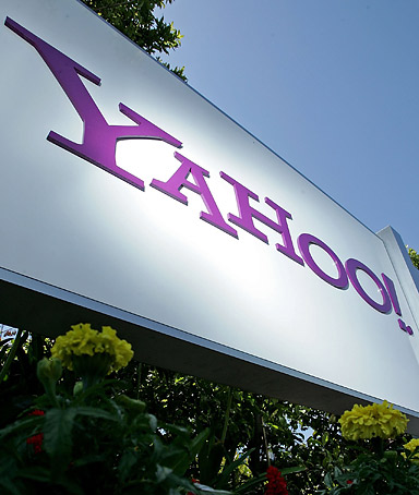 An exterior sign at Yahoo! corporate headquarters in Santa Clara, California.