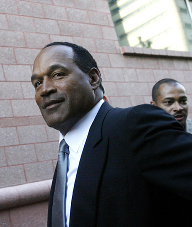 O.J. Simpson arrives at the Regional Justice Center for jury selection in his upcoming trial Monday, Sept. 8, 2008 in Las Vegas.