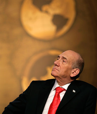 Israel's Prime Minister Ehud Olmert during the Israel-Palestinian Peace Conference at the U.S. Naval Academy in Annapolis, November 27, 2007.