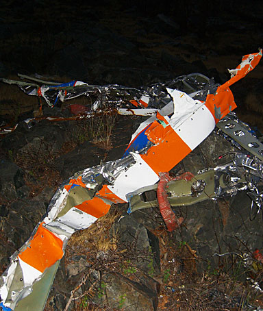 In this handout from Mono County Sheriff's Search & Rescue in Mammoth Lakes, California, the wreckage of Steve Fossett's plane is seen October 1, 2008 in Inyo National Forest, in the Sierra Nevada, California.