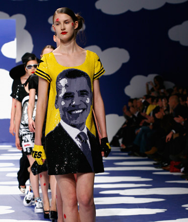 A model walks the runway at the Jean-Charles De Castelbajac fashion show during Paris Fashion Week.