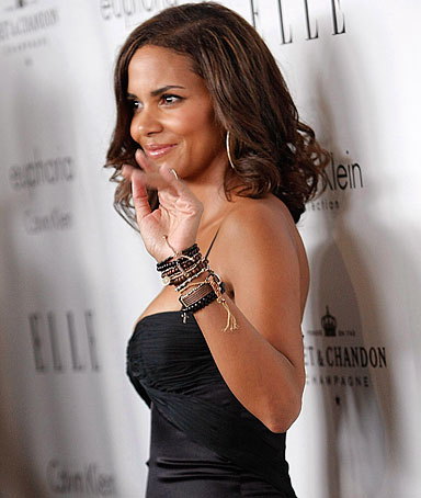 Actress Halle Berry poses on the press line at Elle Magazine's 15th Annual Women in Hollywood Gala in Los Angeles on Oct. 6, 2008.