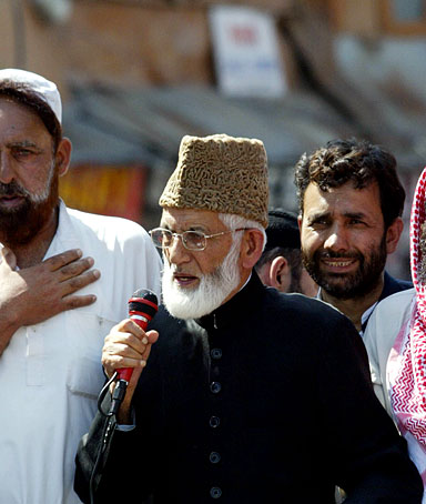 Syed Ali Shah Geelani,leader of the hardline faction of Indian administered Kashmir's main seperatist alliance the All Parties Hurriyat Conference addresses a demonstration in Srinagar on September 14, 2008.