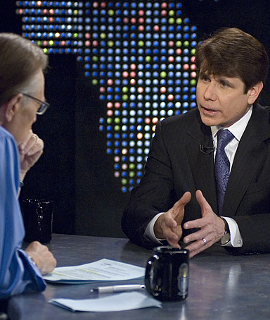 Larry King (L), interviews  Illinois Governor Rod Blagojevich during a broadcast of