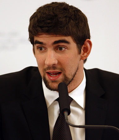Olympic gold medalist Michael Phelps holds a news conference during the 3rd Global Competitiveness Forum in Riyadh, Saudi Arabia, Tuesday, Jan. 27, 2009