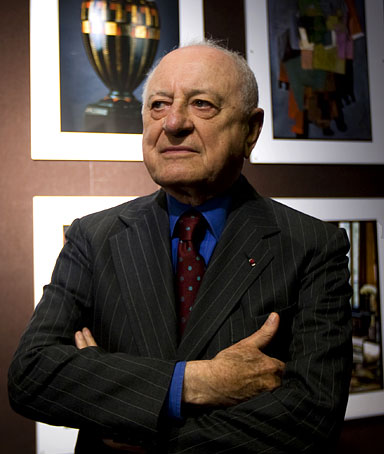 Pierre Berge poses for the media during a news conference at the Christie's auction house in Paris September 26, 2008