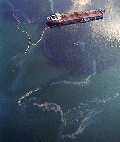 Crude oil from the tanker Exxon Valdez swirls on the surface of Alaska's Prince William Sound in 1989.