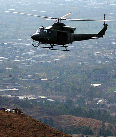 A Pakistani army helicopter patrols in Swat, a Taliban stronghold.