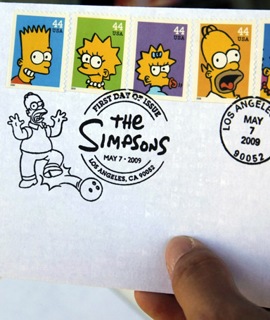 The Simpsons themed U.S. Postal Service stamps are unveiled at the first day of issue ceremony at 20th Century Fox Studios in Los Angeles.