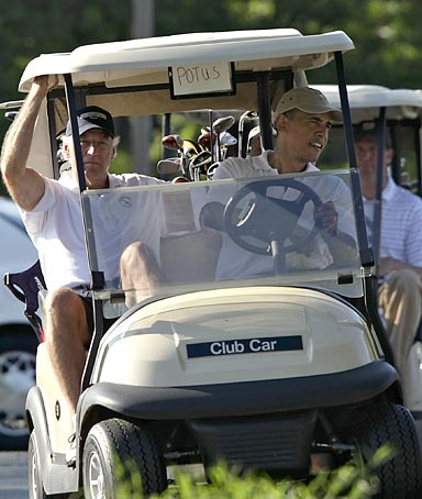 President Obama playing golf.