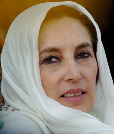 Benazir Bhutto, two-time former prime minister and chairperson of opposition Pakistan People Party.