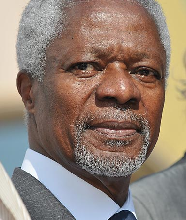 Kofi Annan, former UN Secretary-General and President of Global Humanitarian Forum, in Cannes, France.