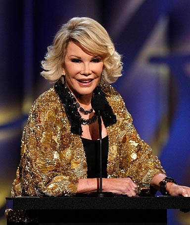 Comedian Joan Rivers onstage at her Comedy Central Roast.
