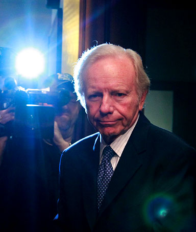 Sen. Joseph Lieberman (I-CT) arrives at a Senate Homeland Security and Governmental Affairs Committee hearing