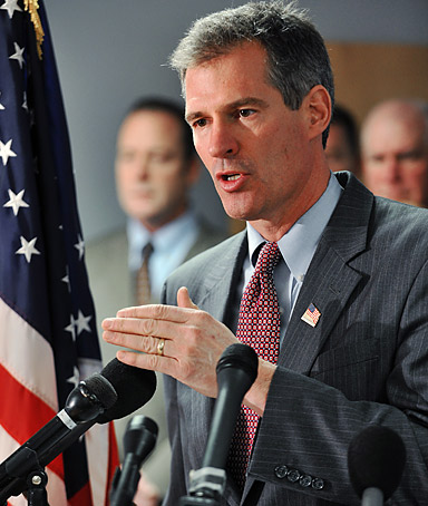 Scott Brown, the Republican battling Democrat Martha Coakley for a U.S.