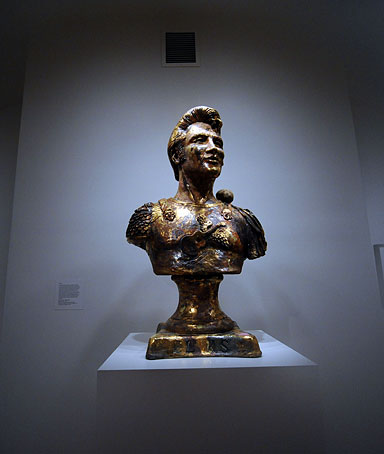 Elvis Aron Presley, a glazed ceramic bust by Robert Carston Arneson in 1978 is part of the exhibit