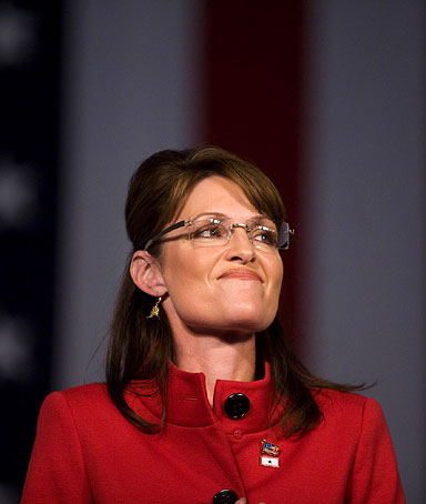 Gov. Sarah Palin of Alaska speaks at a campaign rally at the Grand River Center