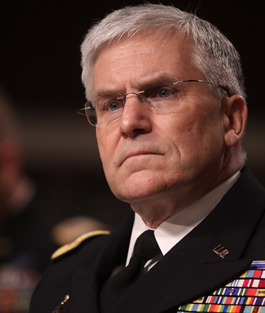Army Chief of Staff Gen. George Casey testifies on Capitol Hill in Washington, Tuesday, Feb. 23, 2010, before  the Senate Armed Services Committee hearing to review the
