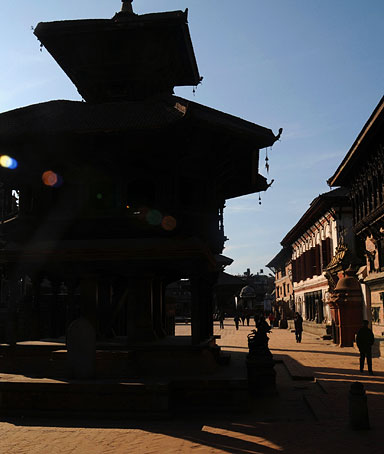 People walk on the Durbar Square in Bhaktapur, Nepal, about 20km east of Kathmandu