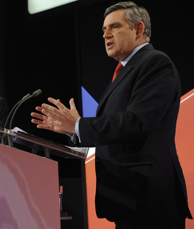 Britain's Prime Minister Gordon Brown (right), opposition Conservative Party leader David Cameron (left) and Liberal Democrat leader Nick Clegg take part in the second of Britain's leadership election debates