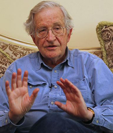 Noam Chomsky, a leading American intellectual highly critical of Israel's policies toward the Palestinians, gestures in Amman May 17, 2010.