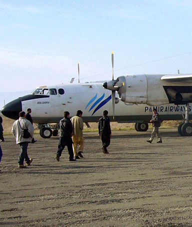 Picture dated 17 January 2010 of a Pamir Airways Antonov AN-24 waiting for passengers at the airport of Kunduz, Afghanistan.