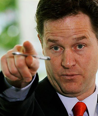 Britain's Deputy Prime Minister Nick Clegg delivers a speech setting out the government's plans for political reform at the City and Islington College in London May 19, 2010.